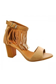 Women's Nude Manmade Miranni Sueded Stacked Heel Sandal with Fringed Ankle
