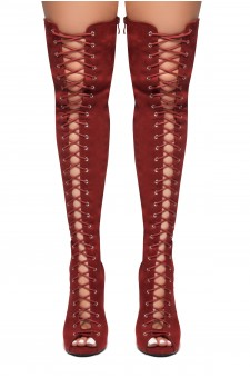 HerStyle Mirucia-Lace up, Peep toe, Stiletto heel, Thigh high boots (Burgundy)