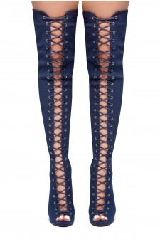 HerStyle Mirucia-Lace up, Peep toe, Stiletto heel, Thigh high boots (Navy DM)
