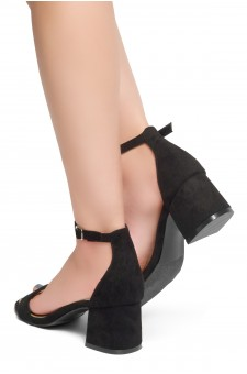 HerStyle Mischa - an open toe, block heel,ankle strap with an adjustable buckle (Black)