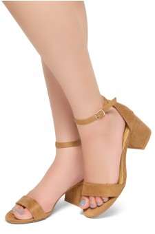 HerStyle Mischa - an open toe, block heel,ankle strap with an adjustable buckle (Camel)