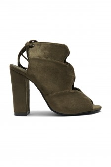 HerStyle Mocha Laser Cut, Chunky Heeled Sandals (Olive)