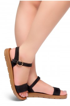 Shoe Land Monday-Women's Open Toe One Band Ankle Strap Flat Sandals (Black)