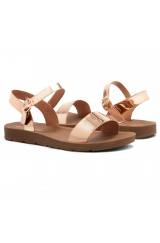 Shoe Land Monday-Women's Open Toe One Band Ankle Strap Flat Sandals (RoseGold)