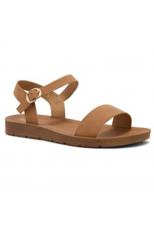 Shoe Land Monday-Women's Open Toe One Band Ankle Strap Flat Sandals (Tan)
