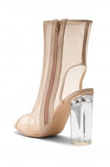 HerStyle Monnaa-Mesh, Lucite heel booties (Nude/Nude)
