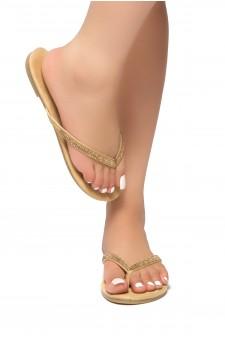 HerStyle Montagne-Rhinestone Details, Open Toe, Flip Flops (Camel)