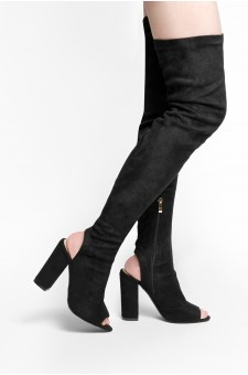 HerStyle Mprov a peep toe, thigh high construction, slim sock fit, rear cutout, chunky heel (Black)