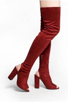 HerStyle Mprov a peep toe, thigh high construction, slim sock fit, rear cutout, chunky heel (Burgundy)