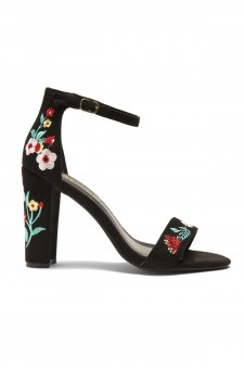 HerStyle Mukkai Embroidered Floral Suede Chunky Heel (Black)