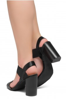 Shoe Land Mullyra-Women's Fashion Chunky Heels Elastic Ankle Strap Sandals (Black/Black)