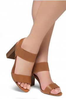 Shoe Land Mullyra-Women's Fashion Chunky Heels Elastic Ankle Strap Sandals (Tan/Tan)
