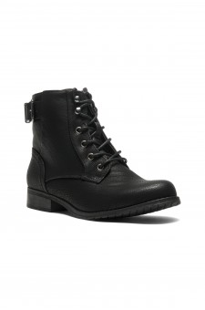 HerStyle Mylloo Combat Lug Booties, Lace up Buckled Ankle booties