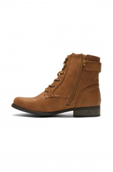 HerStyle Mylloo Combat Lug Booties, Lace up Buckled Ankle booties - tan