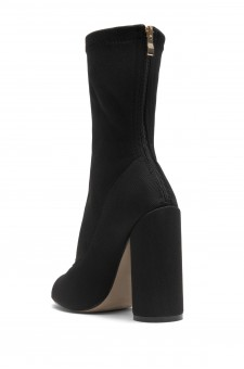 HerStyle Myronna Knit Sock Fit, Peep Toe booties, round heel (Black)