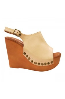Women's Nude Manmade Mystty 5-inch Wedge Sandal with Vintage Accents