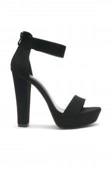 HerStyle Cutesy-Ankle Strap Chunky Platform Heel (Black)