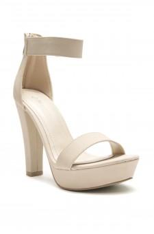 HerStyle N-Rooola Ankle Strap Chunky Platform Heel (Nude)