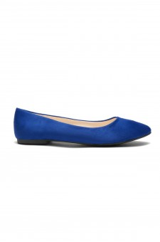 Herstyle Women's Manmade  N-Samma Faux Suede Round Toe Ballet Flat ( Royal Blue)