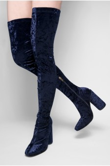 Women's Navy Nakinna pointed toe, thigh high, Velvet, cylinder heel