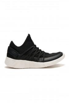 HerStyle Women's Manmade Nandra Flyknit Crisscross Elasticized Straps Sneaker- Black