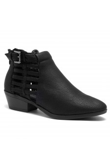HerStyle Natania- Almond Toe Low Stacked Heel Casual Ankle Booties (Black)