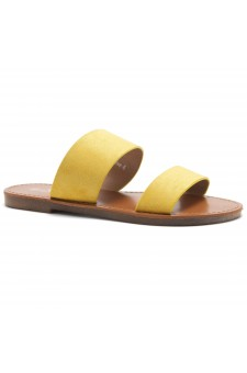 HerStyle Native- Open Toe Double Strap Vamp Open Back Easy Slide Sandals (Mustard)