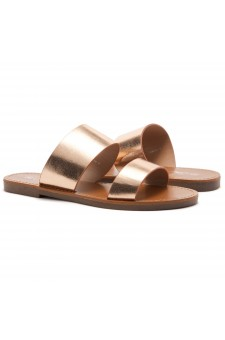 HerStyle Native- Open Toe Double Strap Vamp Open Back Easy Slide Sandals (RoseGold)