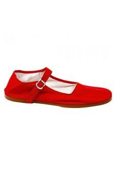Women's Red Manmade Navassa Soft-Sided Mary Jane Flat