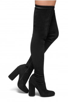 HerStyle Need you touch-Thigh High Block heel sock boot, Almond toe (Black)