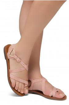 Shoe Land Needed-Women's Open Toe Flat Gladiator Sandals (Mauve)