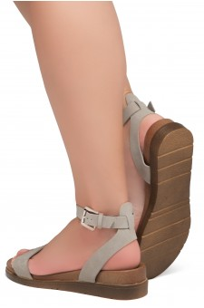 Shoe land Needed Me- Ankle Strap Flat Platform Sandal (1896GreyNu)