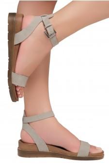 Shoe land Needed Me- Ankle Strap Flat Platform Sandal (1896GreyNu)