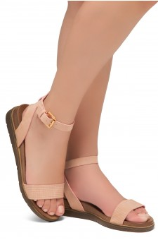Shoe land Needed Me- Ankle Strap Flat Platform Sandal (1896MauveNu)