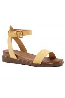 Shoe land Needed Me- Ankle Strap Flat Platform Sandal (1896MustardNu)
