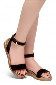 HerStyle Needed Me- Ankle Strap Flat Platform Sandal (Black)