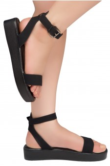 HerStyle Needed Me- Ankle Strap Flat Platform Sandal (Black/Black)