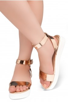 HerStyle Needed Me- Ankle Strap Flat Platform Sandal (Rosegold/White)