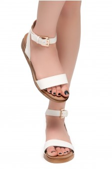 HerStyle Needed Me- Ankle Strap Flat Platform Sandal (White)