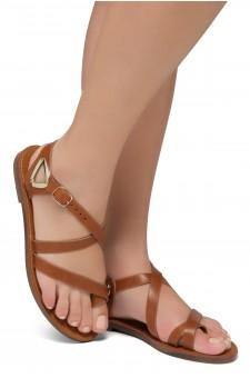 Shoe Land Needed-Women's Open Toe Flat Gladiator Sandals (Tan)