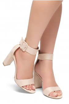 HerStyle NEEDED THIS-Open Toe Ankle Strap Chunky Heel Sandals (Beige)