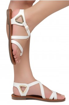 Shoe Land Needed-Women's Open Toe Flat Gladiator Sandals (White)