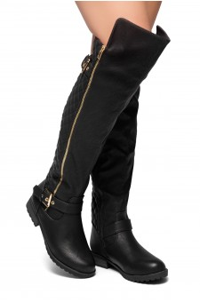 HerStyle Neekkaa-Quilted Zipper Buckle over Knee Riding Boots (Black)