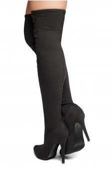 HerStyle Neely-Hi -Almond toe, stiletto heel, thigh high boots (Black)