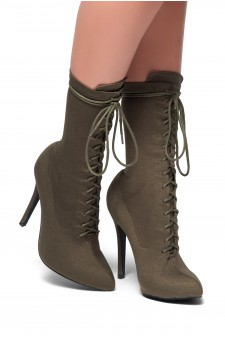 HerStyle Neely-Almond toe, stiletto heel, sock booties (Olive)