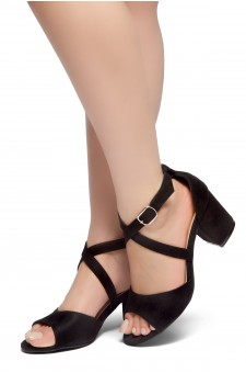 HerStyle NEW HORIZON-Peep Toe Vamp, Straps across Ankle with Back Closure Low Chunky Heel Sandal (Black)