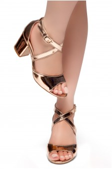HerStyle NEW HORIZON-Peep Toe Vamp, Straps across Ankle with Back Closure Low Chunky Heel Sandal (RoseGold)