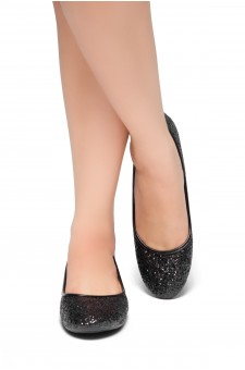 HerStyle New Lover-Round Toe, Glitter Details, Ballet Flat (BlackGlitter)
