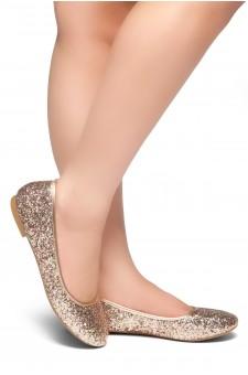 HerStyle New Lover-Round Toe, Glitter Details, Ballet Flat (RoseGoldGlitter)