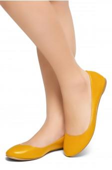 HerStyle New Memory-2 -Round Toe, No detail, Ballet Flat (Mustard)